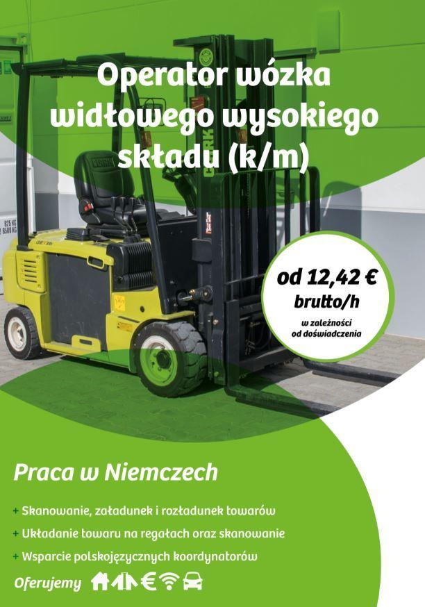 Operator wózka widłowego wysokiego składu (k/m) z językiem niemieckim