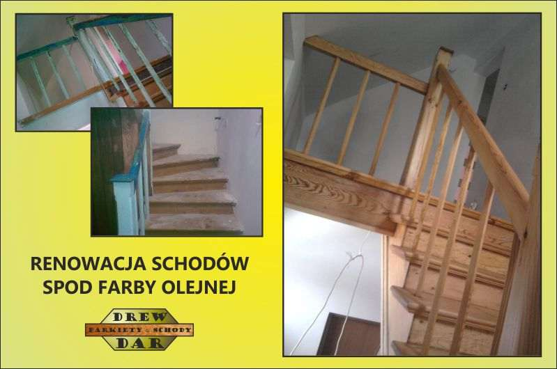 Renowacja starych schodów spod farby drew-dar