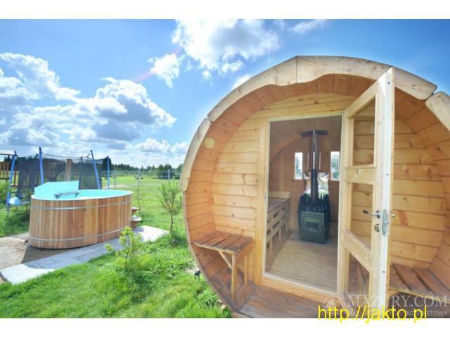 Całoroczny dom na Mazurach z sauną, jakuzii, balią ruską