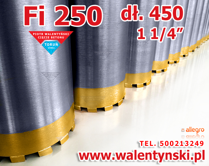 Wiertło Fi 250 koronowe diamentowe, korona wiertnicza, wiertnica, Baier, hilti
