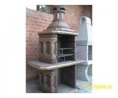 Grill kominek betonowy, ogrodowy, wiosenne grilowanie