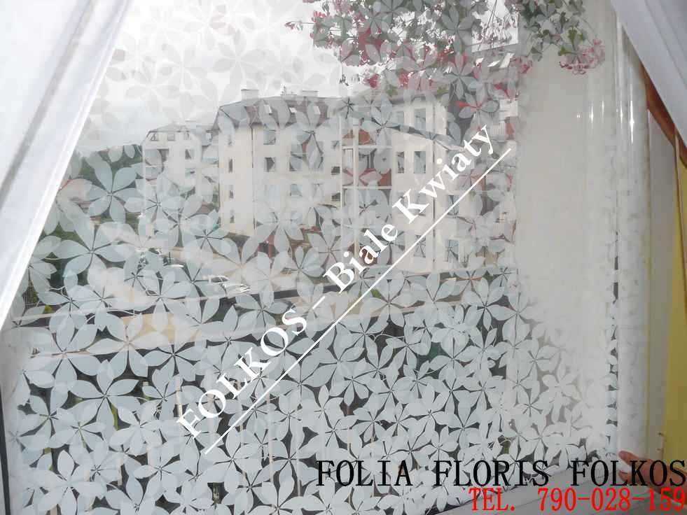 Folia dekoracyjna Białe Kwiaty -Folie Okienne Warszawa BIAŁE KWIATY