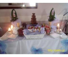 Mobilny kucharz organizacja przyjęć fontanna grill fotobudka