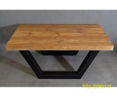 stolik z blatem z litego starego bala