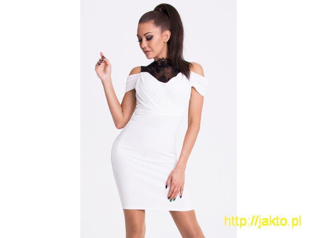 Sukienka wieczorowa ozdobiona – biała S/M/L