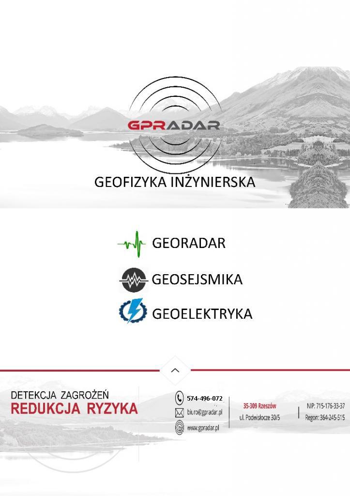 Georadar – Geofizyka –Badania georadarowe – Metoda elektrooporowa - Sejsmika refleksyjna