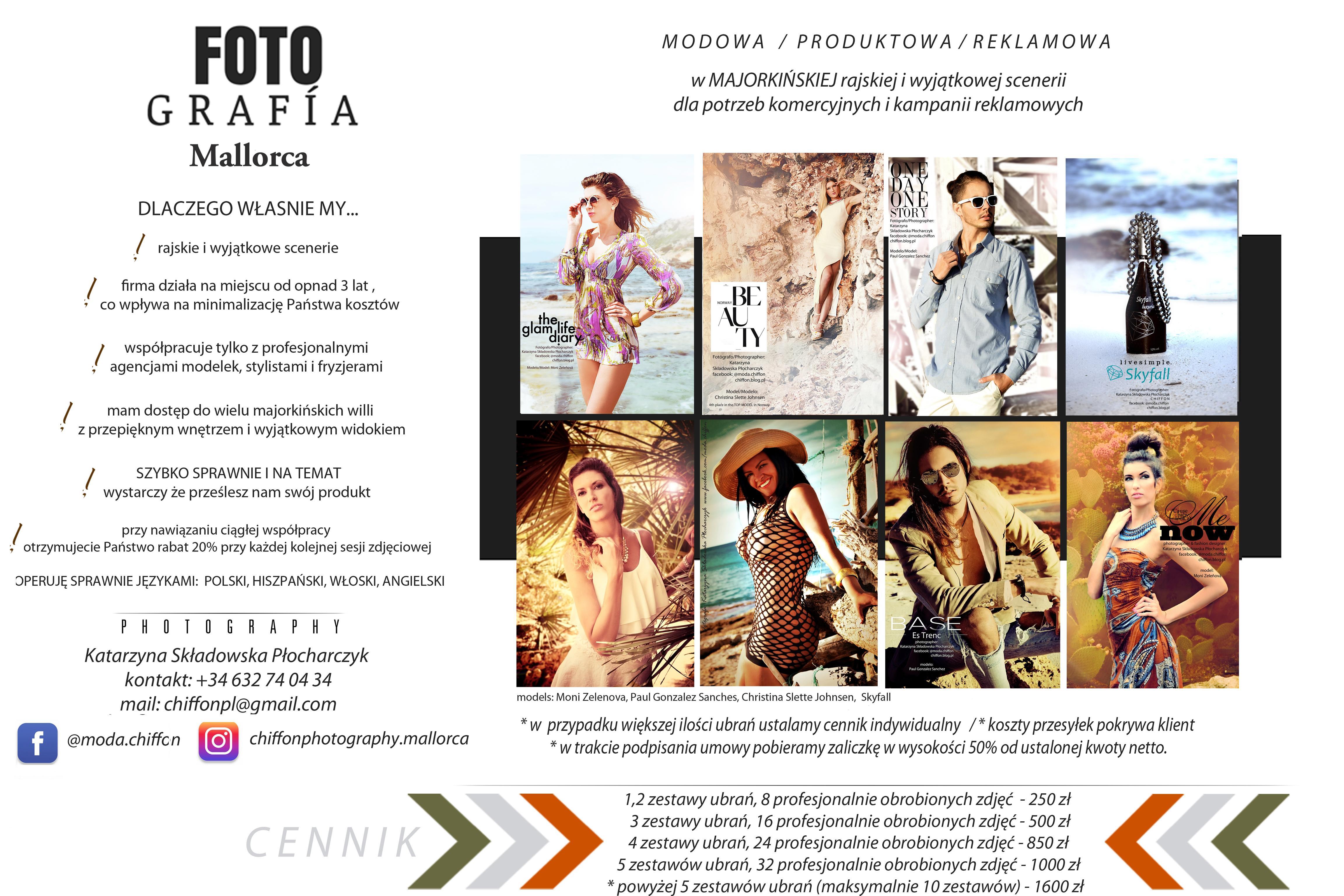 Fotografia modowa produktowa i reklamowa na MAJORCE