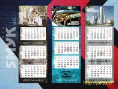 Kalendarze trójdzielne 2019 reklamowe (firmowe) z indywidualnym nadrukiem