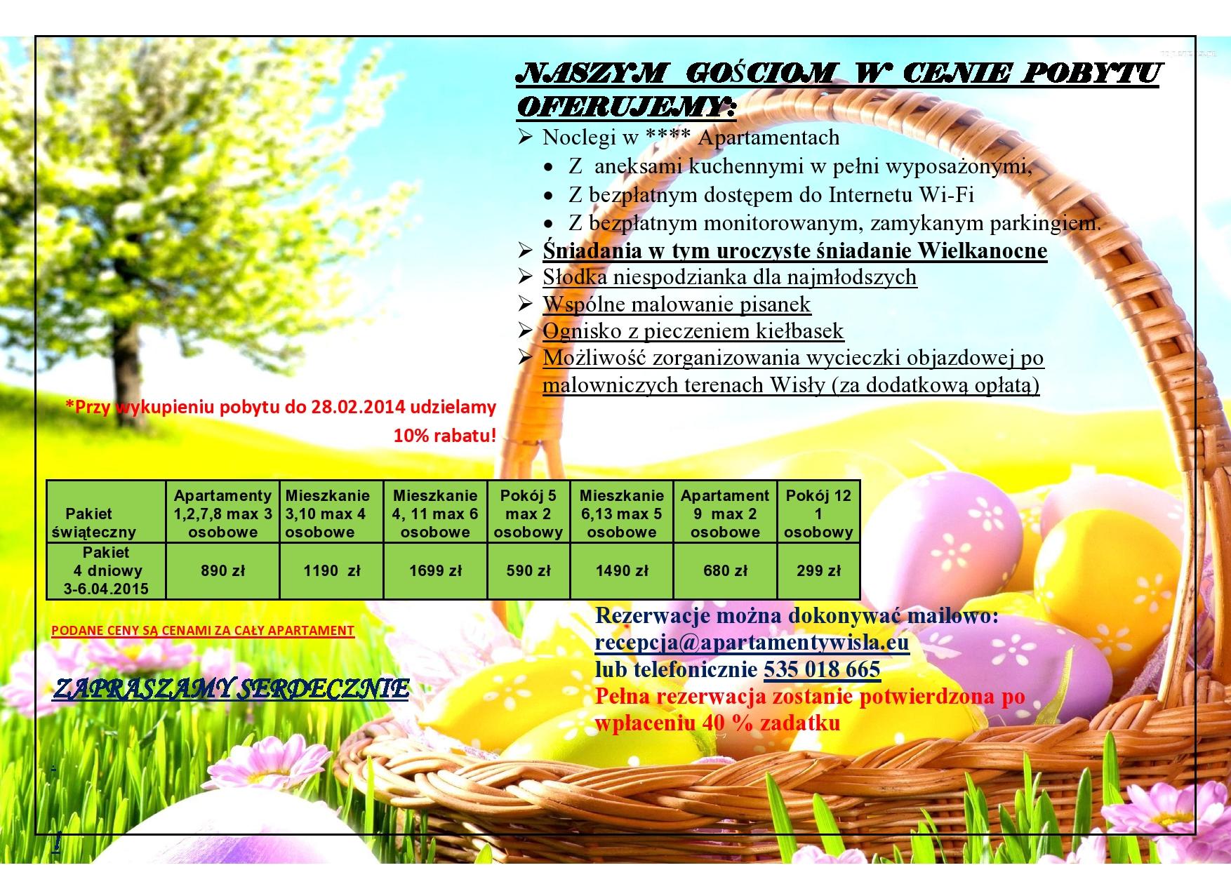 Wielkanoc w Apartamentach nad Wisłą