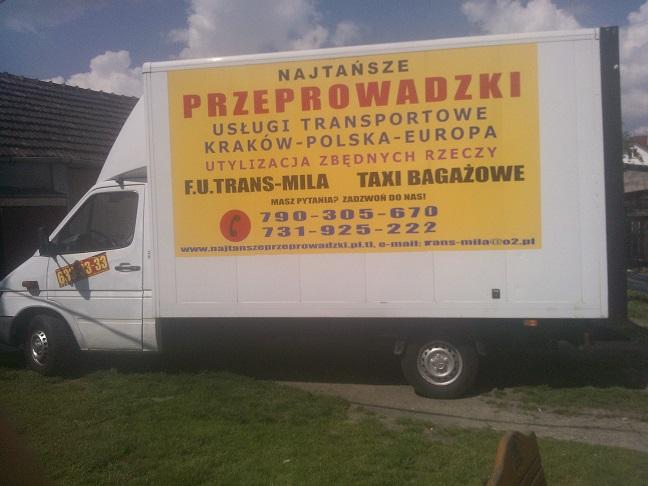TRANS-MILA NAJTAŃSZE PRZEPROWADZKI TRANSPORT KRAKÓW POLSKA EUROPA